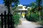Old French colonial house and garden, La Digue island, Seychelles