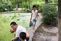 People gather near an algae-coverd pond in Changle Park in Xian, Shaanxi Province, China.