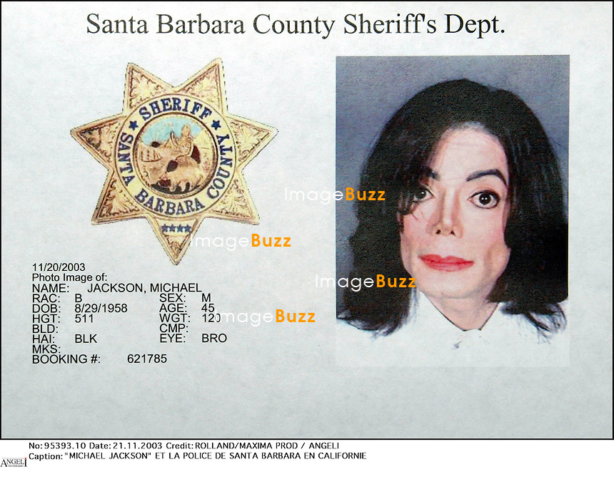 """MICHAEL JACKSON"" ET LA POLICE DE SANTA BARBARA EN CALIFORNIE ""PLAN SERRE"" CARTE D' IDENTIFICATION"
