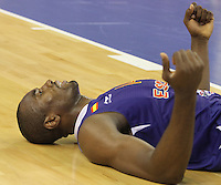 24.07.2012 Barcelona, Spain.  Pre-Olympic friendly game between Spain against USA at Palau St. Jordi. Picture shows Sege Ibaka