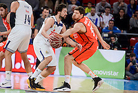 Real Madrid's Sergio Llull and Valencia Basket's Viacheslav Kravtsov during Quarter Finals match of 2017 King's Cup at Fernando Buesa Arena in Vitoria, Spain. February 19, 2017. (ALTERPHOTOS/BorjaB.Hojas)