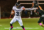 WATERTOWN, CT. 11 October 2019-101119BS372 - Ansonia running back Shykeem Harmon #3 runs with the ball keeping Watertown's Owen Munson (85) at arms length, during a NVL game of the unbeaten between Ansonia and Watertown at Watertown High School on Friday. Bill Shettle Republican-American