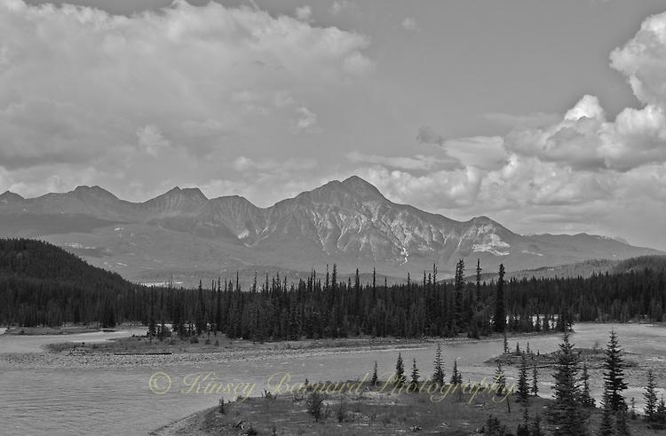 The Bow River landscape near Jasper in Alberta Canada.