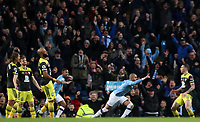 2nd November 2019; Etihad Stadium, Manchester, Lancashire, England; English Premier League Football, Manchester City versus Southampton;  Kyle Walker of Manchester City wheels away and celebrates with his team mates after scoring the winning goal after 86 minutes - Strictly Editorial Use Only. No use with unauthorized audio, video, data, fixture lists, club/league logos or 'live' services. Online in-match use limited to 120 images, no video emulation. No use in betting, games or single club/league/player publications