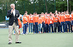 Mannheim, Deutschland, April 21: During the prize giving ceremony at the end of the 4-Nations Easter Tournament of the U16 and U18 Boys squads of Belgium, England, the Netherlands and the host Germany on April 21, 2014 at Mannheimer Hockey Club in Mannheim, Deutschland. (Photo by Dirk Markgraf / www.265-images.com) *** Local caption ***