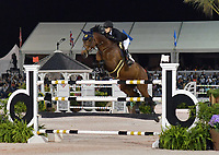 WELLINGTION, FL - MARCH 09: SATURDAY NIGHT LIGHTS: Jessica Springsteen participates The highlight event of week 9 at the 2019 Winter Equestrian Festival, the $391,000 Douglas Elliman Real Estate Grand Prix CSI 5*. The Winter Equestrian Festival (WEF) is the largest, longest running hunter/jumper equestrian event in the world held at the Palm Beach International Equestrian Center on March 09, 2019  in Wellington, Florida.<br /> CAP/MPI122<br /> &copy;MPI122/Capital Pictures