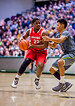 18 February 2018: Hartford University Hawk Guard Travis Weatherington, a Junior from Palm Beach, FL, in action against the University of Vermont Catamounts at Patrick Gymnasium in Burlington, Vermont. The Catamounts fell to the Hawks 69-68 in their America East Conference matchup. Mandatory Credit: Ed Wolfstein Photo *** RAW (NEF) Image File Available ***