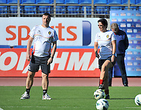 20131025 - LIVADIA , GREECE : Belgian coach Ives Serneels (left) and assistant Tamara Cassimon pictured during the matchday - 1 training from  Belgium , on  matchday minus 1 on the third matchday in group 5 of the UEFA qualifying round to the FIFA Women World Cup in Canada 2015 at the Levadia Municipal Stadium  , Livadia . friday 25th October 2013. PHOTO DAVID CATRY
