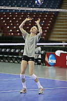 15 December 2007: Stanford Cardinal Joanna Evans during Stanford's 2007 NCAA Division I Women's Volleyball Final Four closed practice at ARCO Arena in Sacramento, CA.