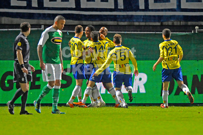 LEEUWARDEN - Voetbal, SC Cambuur - FC Dordrecht, Cambuur stadion, seizoen 2011-2012, 05-03-2012  Cambuur viert de 1-0 van SC Cambuur speler Charles Dissels.