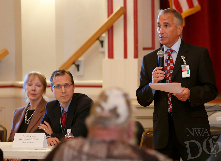 NWA Media/DAVID GOTTSCHALK - 9/22/14 - Mark Enderle, M.D., Medical Center Director of the Veterans Health Care System of the Ozarks, speaks Monday September 22, 2014 at the center during a town hall meeting. The public was invited to share concerns about the system.