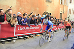 Zdenek Štybar (CZE) Deceuninck-QuickStep and Greg Van Avermaet (BEL) CCC Team climb Via Santa Caterina in Siena in the last km of Strade Bianche 2019 running 184km from Siena to Siena, held over the white gravel roads of Tuscany, Italy. 9th March 2019.<br /> Picture: Eoin Clarke | Cyclefile<br /> <br /> <br /> All photos usage must carry mandatory copyright credit (© Cyclefile | Eoin Clarke)