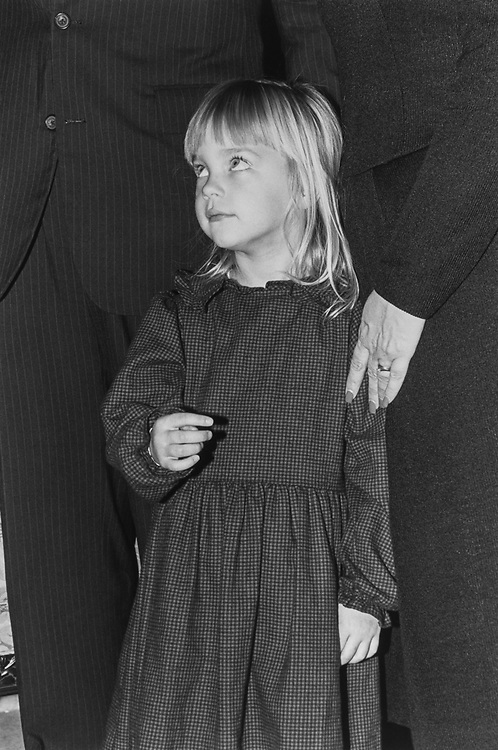 Sarah Riggs (age 4), daughter of Rep. Frank Riggs, watched her father's Mock Swear during the 102nd Congress swear in day, on Jan. 7, 1991. (Photo by Laura Patterson/CQ Roll Call via Getty Images)