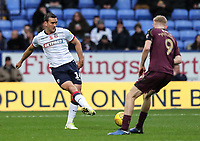 Bolton Wanderers' Jack Hobbs competing with Swansea City's Oliver McBurnie<br /> <br /> Photographer Andrew Kearns/CameraSport<br /> <br /> The EFL Sky Bet Championship - Bolton Wanderers v Swansea City - Saturday 10th November 2018 - University of Bolton Stadium - Bolton<br /> <br /> World Copyright © 2018 CameraSport. All rights reserved. 43 Linden Ave. Countesthorpe. Leicester. England. LE8 5PG - Tel: +44 (0) 116 277 4147 - admin@camerasport.com - www.camerasport.com
