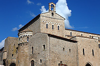 Anagni: A view of place Innocenzo III, with the Palazzo Comunale and the back of the Duomo, under a blue sky with some clouds. Digitally Improved Photo.