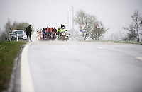 the breakaway fighting through the snow<br /> <br /> 102nd Li&egrave;ge-Bastogne-Li&egrave;ge 2016