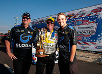 Sep 2, 2019; Clermont, IN, USA; NHRA funny car driver John Force celebrates with Pat Galvin after winning the US Nationals at Lucas Oil Raceway. Mandatory Credit: Mark J. Rebilas-USA TODAY Sports