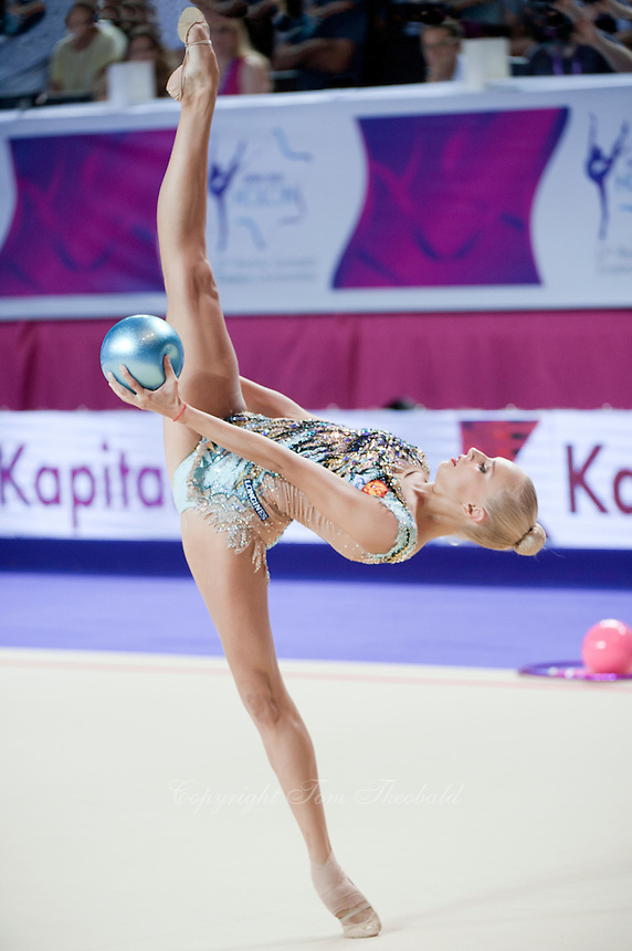 YANA KUDRYAVTSEVA of Russia performs with ball at 2016 European Championships at Holon, Israel on June 18, 2016.