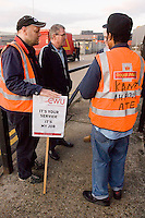 National Strike by CWU postal workers begins. The dispute over pay, modernisation and conditions was set to run for two days. The picket line at Nine Elms sorting office.