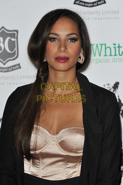 Leona Lewis.'Global Angels Awards', The Park Plaza Hotel, Westminster, London, England. 2nd December 2011..half length  black suit jacket corset bustier pink peach satin nude red lipstick make-up beauty .CAP/MAR.© Martin Harris/Capital Pictures.