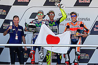 Valentino Rossi, Jorge Lorenzo and Marc Marquez  in MotoGP podium in Motorcycle Championship GP, in Jerez, Spain. April 24, 2016