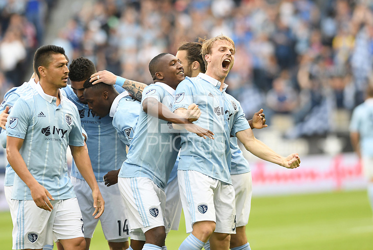 Kansas City, Kansas - April 9, 2017: Sporting Kansas City defeated the Colorado Rapids 3-1 in MLS action at Children's Mercy Park.