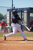 New York Yankees Junior Soto (34) during a Minor League Spring Training game against the Philadelphia Phillies on March 23, 2019 at the New York Yankees Minor League Complex in Tampa, Florida.  (Mike Janes/Four Seam Images)