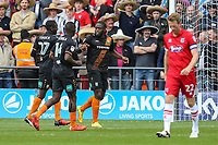 John Akinde of Barnet (3rd left) celebrates after he scores the opening goal of the game during the Sky Bet League 2 match between Barnet and Grimsby Town at The Hive, London, England on 29 April 2017. Photo by David Horn.