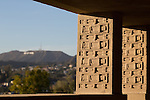 The view toward the Hollywood Sign from the colonnade at Frank Lloyd Wright's Hollyhock House in Barnsdall Art Park, Hollywood, Los Angeles, CA