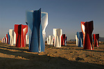 The Finfield at the  north end of Hawthorne along US 95 is a tribute to all armed services personel who have served the U.S. along with all the people who have worked or supplied the Hawthorne Army Depot (HWAD) throughout its history. There are 120 red, white, and blue painted bomb fins placed there by workers from HWAD in May 2003.