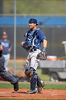Tampa Bay Rays Daniel De la Calle (13) during a minor league Spring Training game against the Boston Red Sox on March 23, 2016 at Charlotte Sports Park in Port Charlotte, Florida.  (Mike Janes/Four Seam Images)