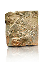 Pictures & images of the North Gate Hittite sculpture stele depicting a Hittite chariot. 8th century BC. Karatepe Aslantas Open-Air Museum (Karatepe-Aslantaş Açık Hava Müzesi), Osmaniye Province, Turkey. Against white background