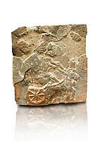 Pictures & images of the North Gate Hittite sculpture stele depicting a Hittite chariot. 8th century BC. Karatepe Aslantas Open-Air Museum (Karatepe-Aslantaş Açık Hava Müzesi), Osmaniye Province, Turkey. Against white background