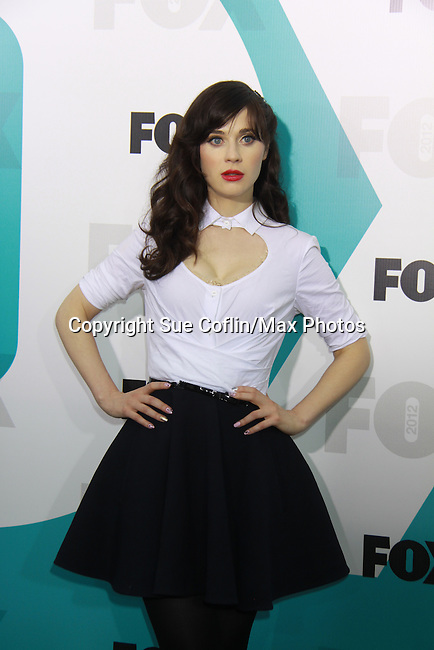 "New Girl's Zooey Deschanel ""Jess"" at The Fox 2012 Programming Presentation on May 14, 2012 at Wollman Rink, Central Park, New York City, New York. (Photo by Sue Coflin/Max Photos) 917-647-8403"
