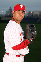 February 24, 2010:  Pitcher Sergio Escalona (53) of the Philadelphia Phillies poses during photo day at Bright House Field in Clearwater, FL.  Photo By Mike Janes/Four Seam Images