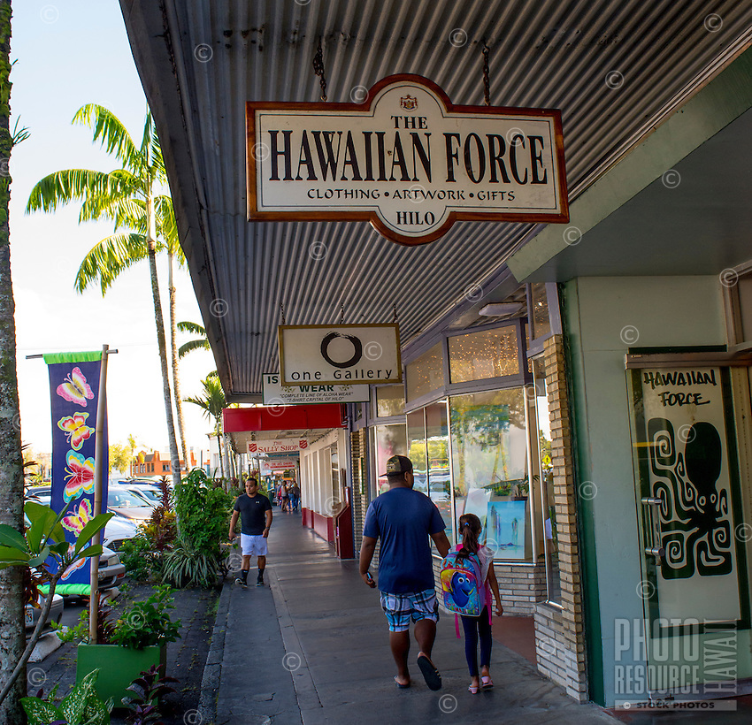 Shops along the waterfront at Kamehameha Avenue in downtown Hilo, Big Island of Hawai'i.