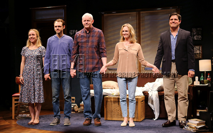 Sarah Goldberg, Christopher Denham, David Morse, Lisa Emery and Rich Sommer during the 'The Unavoidable Disappearance Of Tom Durnin' Opening Night Curtain Call at Laura Pels Theatre on June 27, 2013 in New York City.