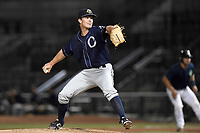 Pitcher Hobie Harris (30) of the Charleston RiverDogs delivers a pitch in a game against the Columbia Fireflies on Monday, August 7, 2017, at Spirit Communications Park in Columbia, South Carolina. Columbia won, 6-4. (Tom Priddy/Four Seam Images)