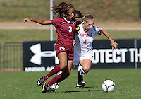 COLLEGE PARK, MD - OCTOBER 21, 2012:  Cory Ryan (4) of the University of Maryland tangles with Casey Short (3) of Florida State during an ACC women's match at Ludwig Field in College Park, MD. on October 21. Florida won 1-0.