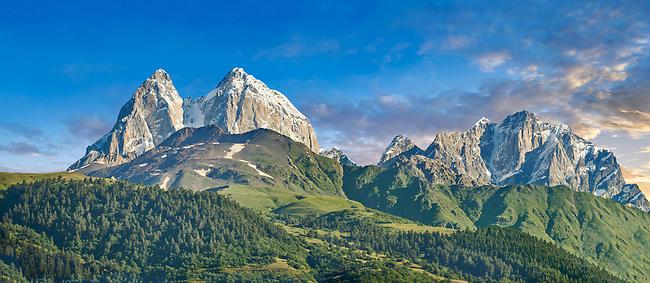 High peaks of the Caucasus mountains on the Mestia road, Upper Svaneti, Samegrelo-Zemo Svaneti, Mestia, Georgia.
