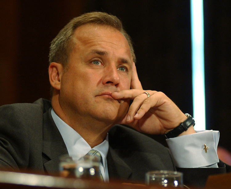 WASHINGTON - July 24:  Former Rep. Jim Nussle, R-Iowa (1991-2007), during his hearing before the Senate Homeland Security and Governmental Affairs Committee on Tuesday morning. Nussle's nomination has received a mixed response from Democrats, who are preparing to square off with Bush this fall on his pledge to veto fiscal 2008 spending bills that exceed his budget request. Democrats want to spend $23 billion more than the $933 billion the president has requested for the 12 appropriations measures. If confirmed, Nussle would be the administration's front man on spending issues as director of the White House Office of Management and Budget.. (Photo by Dana Statton/Congressional Quarterly)..