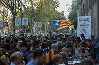 The scene at the University of Barcelona following a huge protest against the Catalan independence referendum being banned by the Spanish central government. 28-9-17