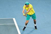 9th January 2020; Sydney Olympic Park Tennis Centre, Sydney, New South Wales, Australia; ATP Cup Australia, Sydney, Day 7; Great Britain versus Australia; Alex de Minaur of Australia versus Daniel Evans of Great Britain; Alex de Minaur of Australia hits a backhand to Daniel Evans of Great Britain  - Editorial Use