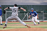 Western Nevada College's Jake Bennett leads off third base during a college baseball game against Mt. Hood Community Colllege at John L. Harvey Field in Carson City, Nev., on Friday, March 14, 2014. <br /> Photo by Cathleen Allison/Nevada Photo Source