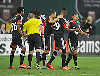 Carlos Ruiz (20) of D.C. United celebrates with teamates his score in the 73th minute of the game. C.D.Guadalajara tied D.C. United 1-1 during and international friendly, at RFK Stadium, Friday July 12, 2013.