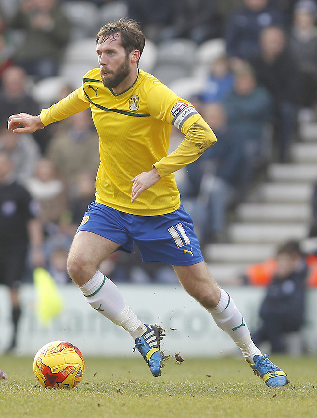 Coventry City's James O'Brien<br /> <br /> Photographer Mick Walker/CameraSport<br /> <br /> Football - The Football League Sky Bet League One - Preston North End v Coventry City - Saturday 7th February 2015 - Deepdale - Preston<br /> <br /> &copy; CameraSport - 43 Linden Ave. Countesthorpe. Leicester. England. LE8 5PG - Tel: +44 (0) 116 277 4147 - admin@camerasport.com - www.camerasport.com