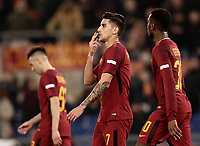 Calcio, Serie A: AS Roma - Torino Roma, stadio Olimpico, 9 marzo, 2018.<br /> Roma's Lorenzo Pellegrini (c) celebrates after scoring with his teammates during the Italian Serie A football match between AS Roma and Torino at Rome's Olympic stadium, 9 marzo, 2018.<br /> UPDATE IMAGES PRESS/Isabella Bonotto