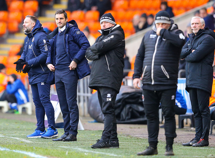 Shrewsbury Town manager Sam Ricketts watches on<br /> <br /> Photographer Alex Dodd/CameraSport<br /> <br /> The EFL Sky Bet League One - Blackpool v Shrewsbury Town - Saturday 19 January 2019 - Bloomfield Road - Blackpool<br /> <br /> World Copyright © 2019 CameraSport. All rights reserved. 43 Linden Ave. Countesthorpe. Leicester. England. LE8 5PG - Tel: +44 (0) 116 277 4147 - admin@camerasport.com - www.camerasport.com
