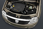 High angle engine detail of a 2009 Dacia Logan Laureate Minivan.