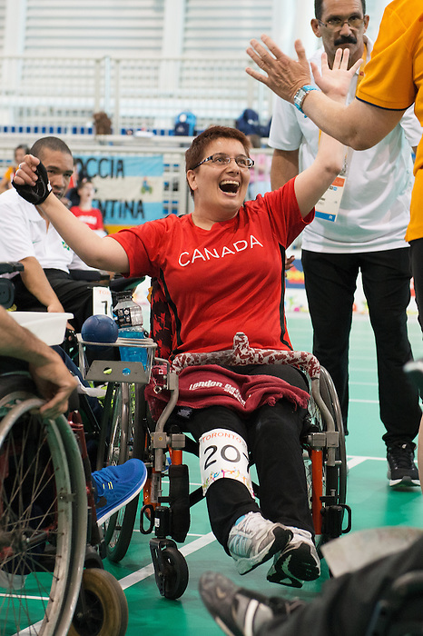 Toronto, ON - Aug 8 2015 -  Tammy McLeod celebrates winning bronze in Team BC1/BC2 - Round 3 in the Abilities Centre during the Toronto 2015 Parapan American Games  (Photo: Matthew Murnaghan/Canadian Paralympic Committee)